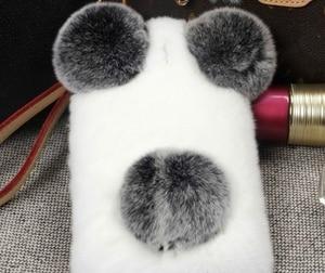 Image 2 - Lüks Panda tavşan kürk iPhone 11 12 Pro Max X XS MAX XR 7 8 artı 6 6S artı karikatür sıcak kabarık saç peluş kılıf kapak