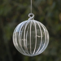 Small Packing Christmas Tree Ornament Pendant Striped Glass Ball Christmas Day Glass Gifts Hanging Decorative Glass Globe