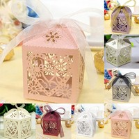 100Pcs/set Gift Box Candy Boxes Love Heart Party Wedding Hollow Carriage Baby Shower Favors Gifts Candy Boxes