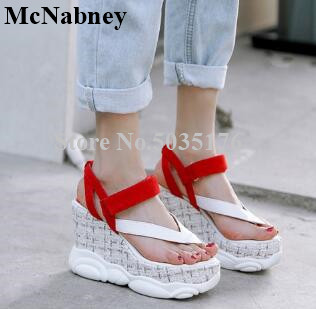2019 Summer New Style Toe Muffin Bottom Platform Waterproof Slope Color Female Casual Wedges Heel Sandals College Style Travel2019 Summer New Style Toe Muffin Bottom Platform Waterproof Slope Color Female Casual Wedges Heel Sandals College Style Travel