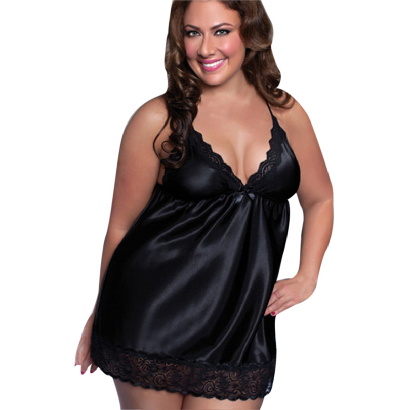 New <font><b>Sexy</b></font> V-Neck <font><b>Lingerie</b></font> Night Gown Sleeveless Ladies Satin Nightgown Plus Size M-<font><b>6XL</b></font> Undressed Lace Sleepwear For Women20 image