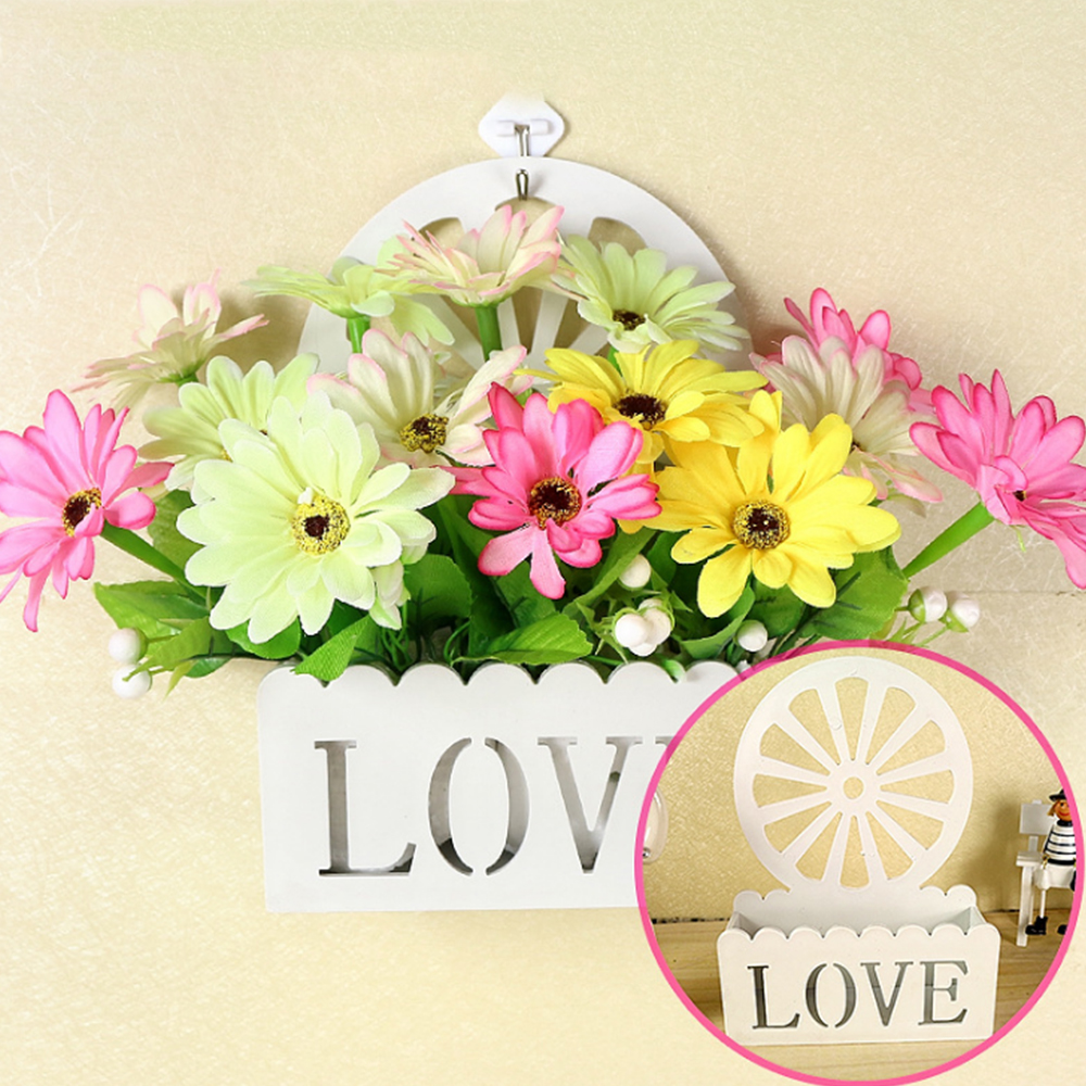 Plastic Wall Hanging White Love Design Flower Basket Container For ...