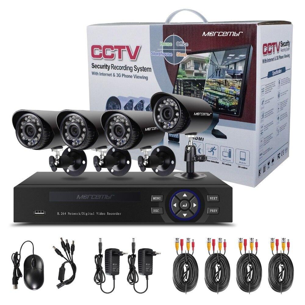 Morcembr 720P Security Camera System Set Video Surveillance Kits Home Security Camera 1.0MP 4CH CCTV Cameras vga 4ch color cctv security camera quad processor remote control