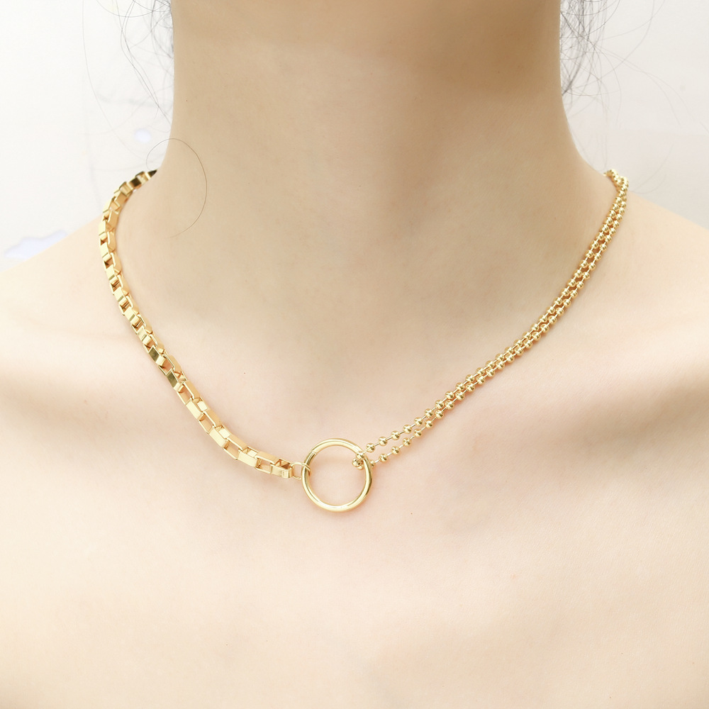 Stainless Steel Gold Circle Bead Choker Chain Necklace Creative Design Irregular Chain Simple Jewellery Necklaces