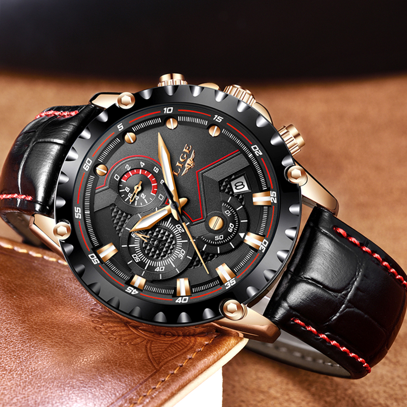 Relogio Masculino LIGE Mens Watches Top Brand Luxury Quartz Gold Watch Men Casual Leather Military Waterproof Sport Wrist Watch in Quartz Watches from Watches