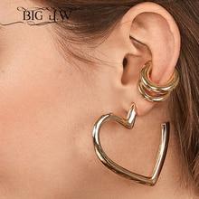 BIG J.W 2 PCS Gold Color Zinc Alloy Round Ear Cuffs Clip Earring For Women Korean Fashion Ladies Ear Clip without Puncture stylish cobra style zinc alloy earring brass 2 pcs