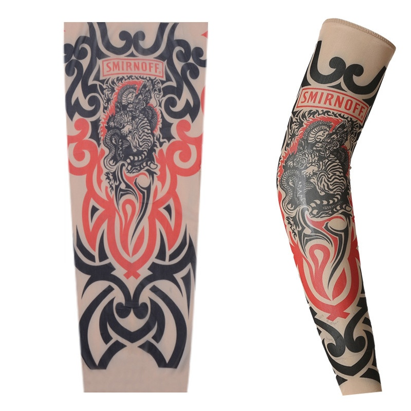 Cycling Sports Tattoo Arm Warmers Sleeves UV Cool Arm Sleeves Cycling Running Nylon Sport Elastic Oversleeve Tattoo Sleeve 3