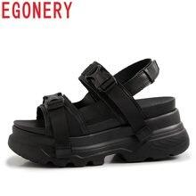 ceb9053e98e EGONERY deportes Casual zapatillas de deporte de cuero genuino de vaca  sandalias de mujer de verano