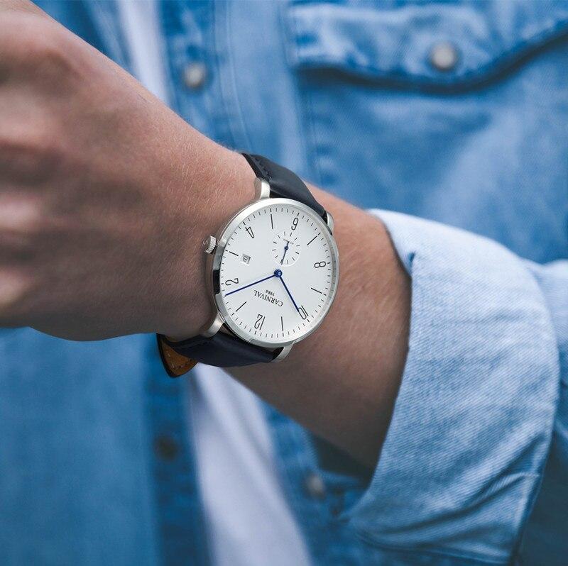 Karneval Automatische mechanische Uhr Männer luxury brand voller Stahl Business männer Uhren Calkskin Leder Mode Casual Datum Uhren - 6