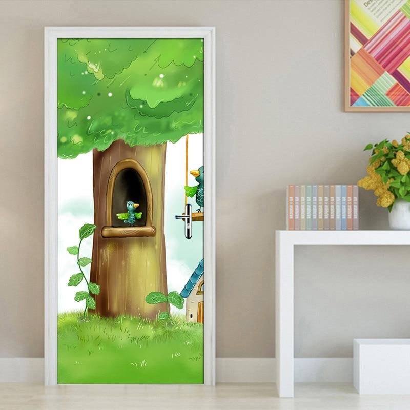 Modern Cartoon Tree Bird Children Room Bedroom Door Mural Photo Wallpaper For Kids Room Door Decoration PVC Wall Sticker Paper