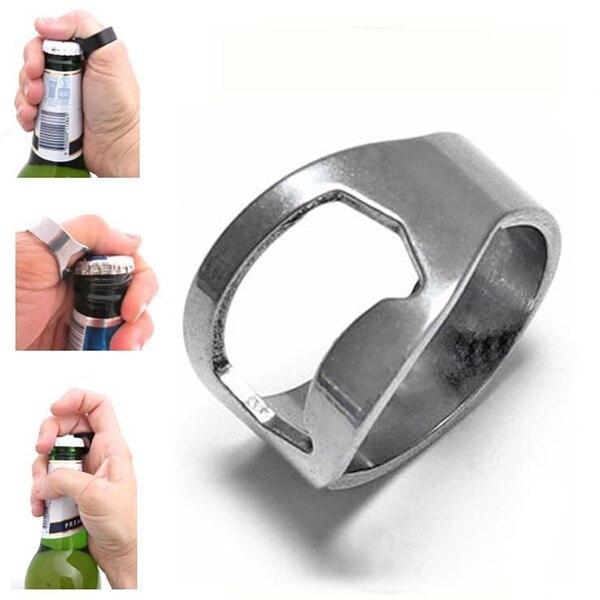 Sale 2 Pcs New Wholesale Hot Popular Creative Stainless Steel Finger Ring Ring-Shape Beer Bottle Opener