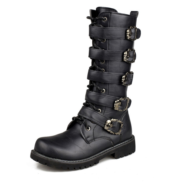 New 2016 Autumn Long Motorcycle Boots Fashion Big Size Military Boots Men Mid Calf Army Boots for man