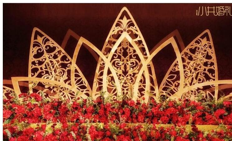 New stage decoration carved screen background lotus background wedding reception area furnishing pieces iron background screen.|Wedding Arches| |  - title=