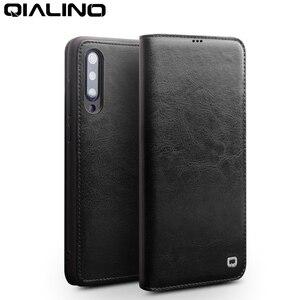 Image 2 - Qialino couro genuíno slot para cartão da aleta caso para xiao mi 9 moda vintage proteção completa capa de telefone para xiao mi 9 6.39 polegada