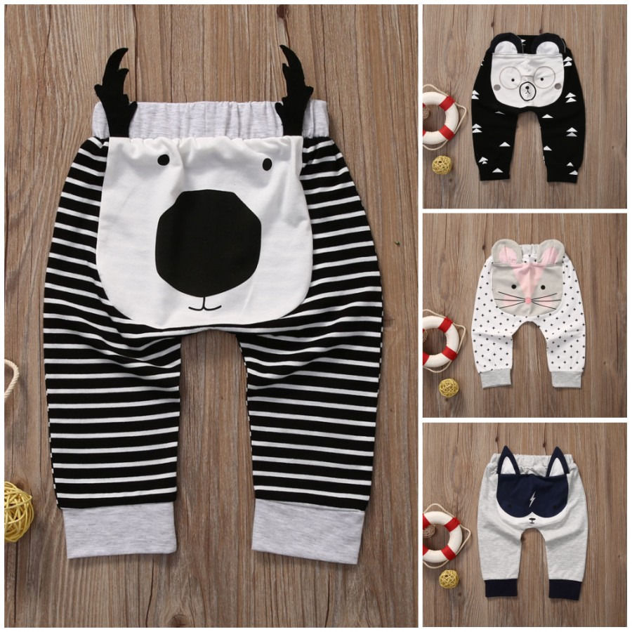 Newborn Clothes Toddler Baby Boy Long Pants Cartoon Animal Printed Bottoms Ruffle Harem Pants Baby Trousers 0-2T