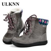 ULKNN Winter Boots Girls Warm Boots Kids For Children Snow Boots Plush Genuine Leather Handmade Zipper
