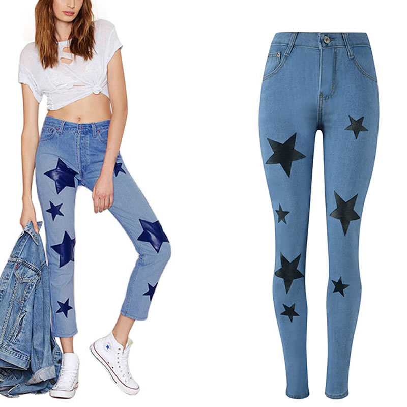 Slim Jeans For Women Skinny Jeans Blue Star Pattern High Waist Denim Pencil Pants boyfriend jeans hip hop jeans calca feminina 4xl plus size high waist elastic jeans thin skinny pencil pants sexy slim hip denim pants for women euramerican
