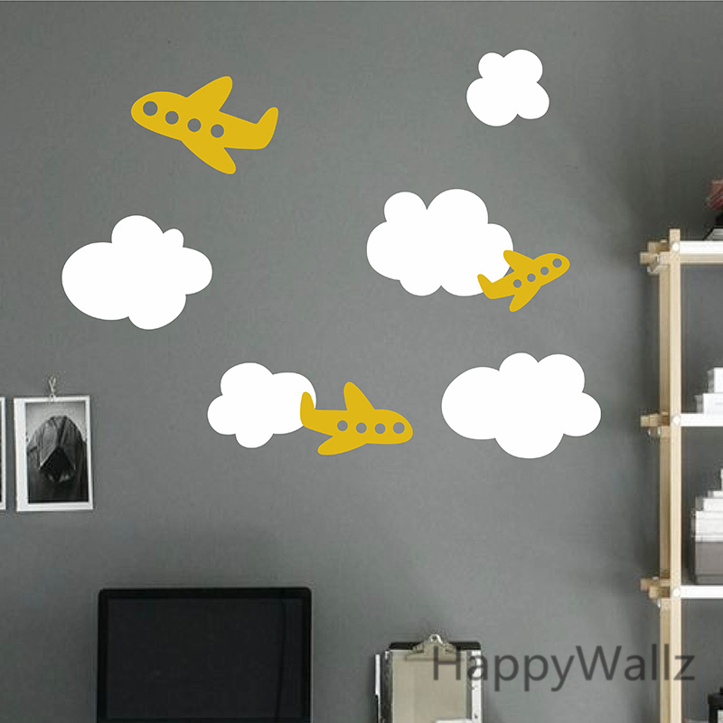 Airplane Wall Sticker Plane Clouds Baby Nursery Wall Decal DIY - Nursery wall decals clouds