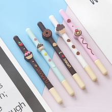 20 pcs/Lot Chocolate biscuit pen Yummy cake donut 0.5mm roller Black color ink Signature Stationery School supplies FB710