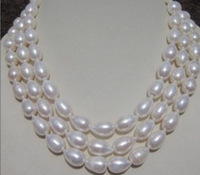 very good genuine 8 9MM WHITE AKOYA Freshwater Cultured PEARL NECKLACE 50 INCH 14KGP gold plated Fine women jewelry