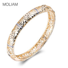 MOLIAM Luxury Brand Bracelet for Womens Gold-Color Hollow Bangles Crystal Zirconia Jewelry Hot Sale Drop Shipping MLZ010