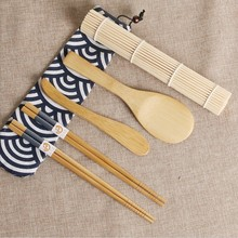 kit Sushi Mat Roller Tools Rice Ball Vegetable Meat Onigiri and Rolls Boat Mold Bamboo Tool 6 PCS Set