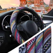Yosolo linho universal elástico capa de volante do carro estilo étnico acessórios do carro