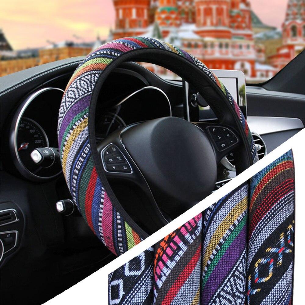 YOSOLO Linen Universal Elastic Car Steering Wheel Cover Ethnic Style Car Accessories