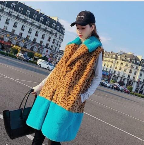 Newest Womens Lepoard Imitation Rabbit Fur Vest Casual Turn Down Collar Pacthwork Casual Fake Fur Waistcoats