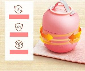 Image 4 - Caixa de Almoço quente kid Babys Talheres Sopa Panela Panela de Cozido Isolamento Chaleira Portátil Tigela de Aço Inoxidável Recipiente de Alimento do Vácuo