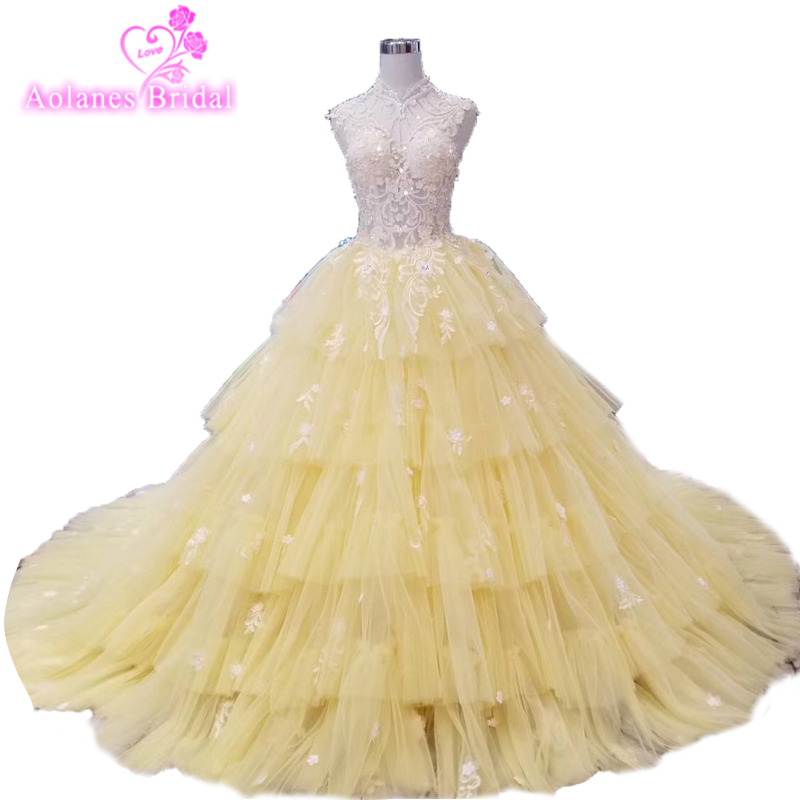 Tiered Layers Tulle Lovely Girl 15 Prom Evening Dresses 2018 Ball Gown Prom  Gown With Lace Appliess High Neck Prom Dress d3331e3270df