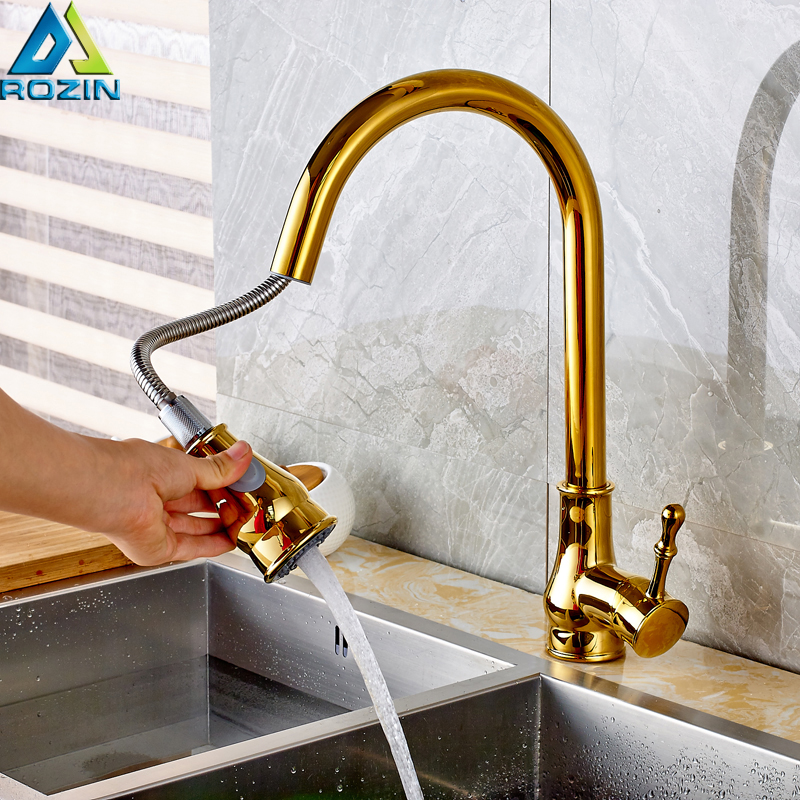 все цены на Chrome Pull Out Kitchen Taps Swive Spout Single Lever Kitchen Water Faucet Deck Mounted Stream Sprayer Hot and Cold Mixer