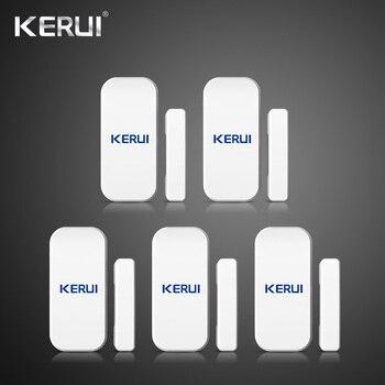 Kerui 5 piezas 433 MHz Ventana de puerta inalámbrica Detector magnético Sensor de distancia para el sistema de alarma de seguridad del hogar teclado táctil