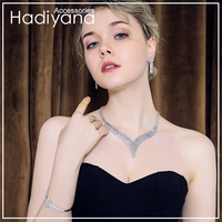 Hadiyana Trendy Sliver Color Zirconia Bride Wedding Jewelry Set 2018 Wholesale Woman Jewelry Sets For Women Free Shipping TZ8028