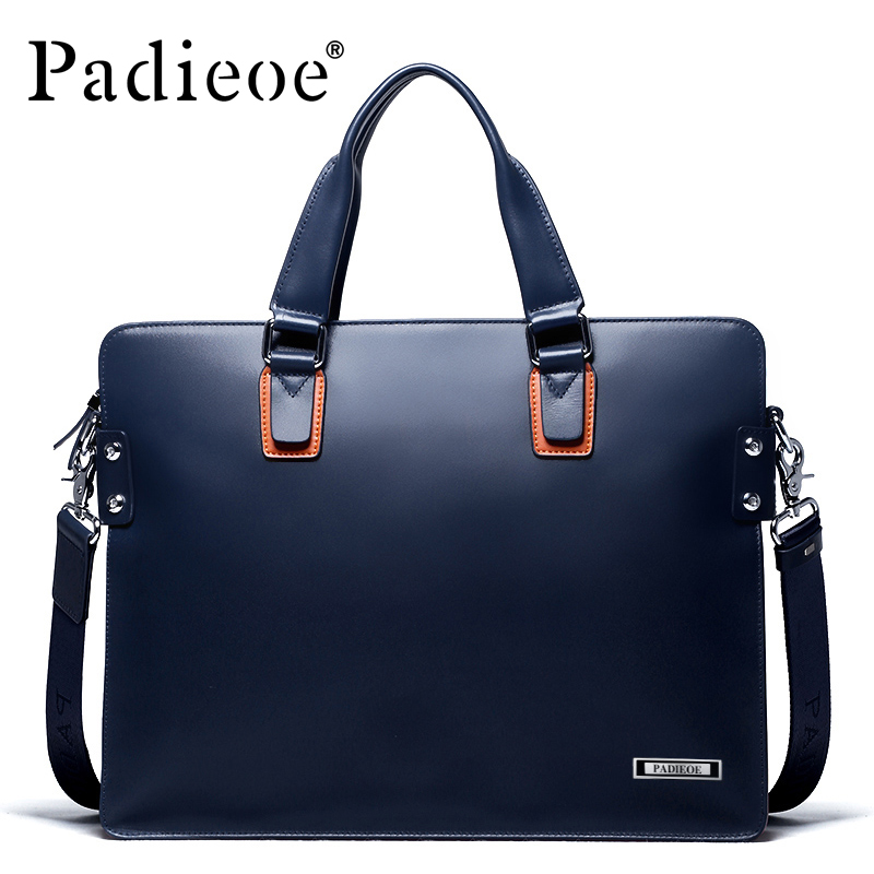 Padieoe Fashion Genuine Leather Men Briefcase Fashion Business Men Shoulder Bag Luxury Brand High Quality Male Briefcases padieoe 2017 fashion genuine leather laptop bag high quality business men briefcase famous brand luxury documents bag for male