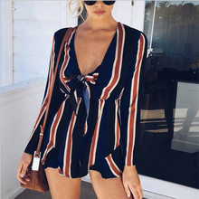 2019 New Arrival Long Sleeve Deep V Neck Fashion Stripe Casual Sexy Ladies Jumpsuit