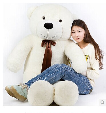 Stuffed animal 140cm white Teddy bear plush toy soft doll throw pillow gift w1690 new stuffed light brown squint eyes teddy bear plush 220 cm doll 86 inch toy gift wb8316