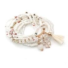 9pcs/set Brand Multilayer Seed Beads Clover Bracelets & Bangles