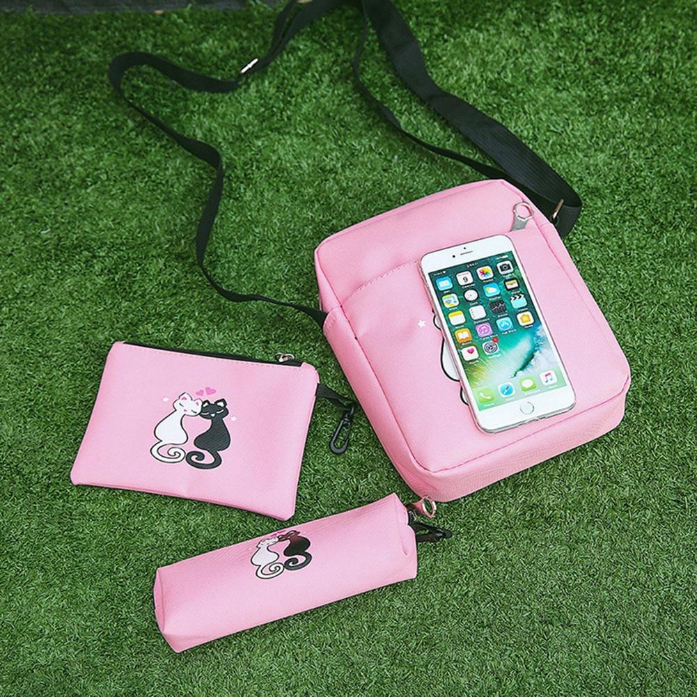 4pcs/set Canvas Women Backpack Schoolbag Printing Cute Cat School Bag Bagpack For Teenager Girls Sac A Dos Mochila Feminina #4