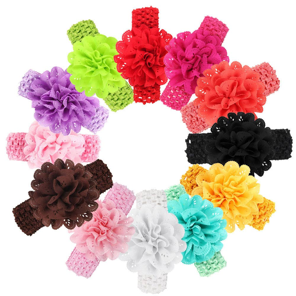Baby headbands for girls Lace Chiffon Bow Flower Headbands for girl Elastic Baby 12Color haarband Accessories Kids   headwear