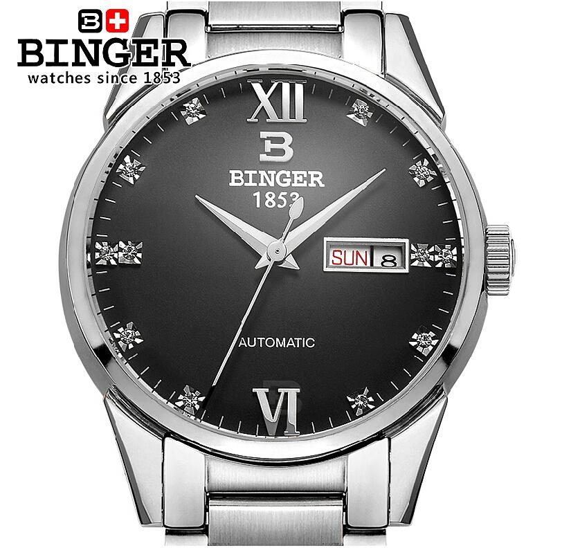 Switzerland watches men luxury brand Wristwatches BINGER 18K gold Automatic self-wind full stainless steel waterproof  B1128-9 цена