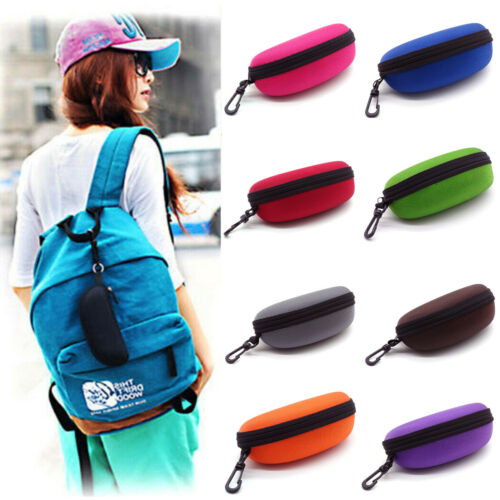 Portable Zipper Eye Glasses Box Sunglasses Clam Shell Hard Eyewear Case Protector Bag Black Blue Gray Red