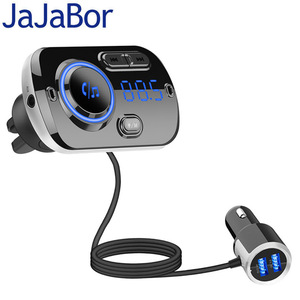 JaJaBor Bluetooth 5.0 Carkit Handsfree FM Transmitter AUX Audio Car Player A2DP Wireless Car MP3 Player Support TF Card Playback(China)