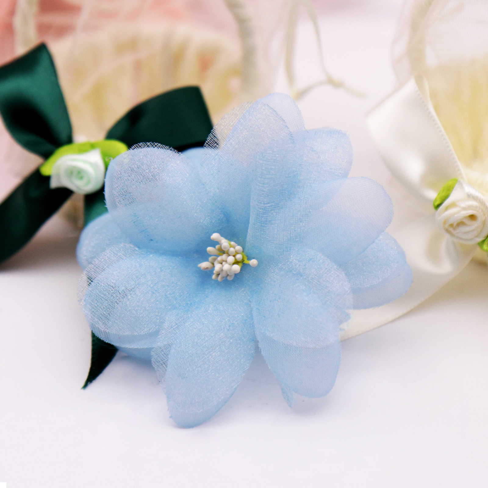 10Pcs 8.8X8.8 ซม.ประดิษฐ์ดอกไม้เพิร์ลพลัมดอกไม้หัวหมวกดอกไม้ตกแต่งDIYพวงหรีดคลิปดอกไม้ปลอม