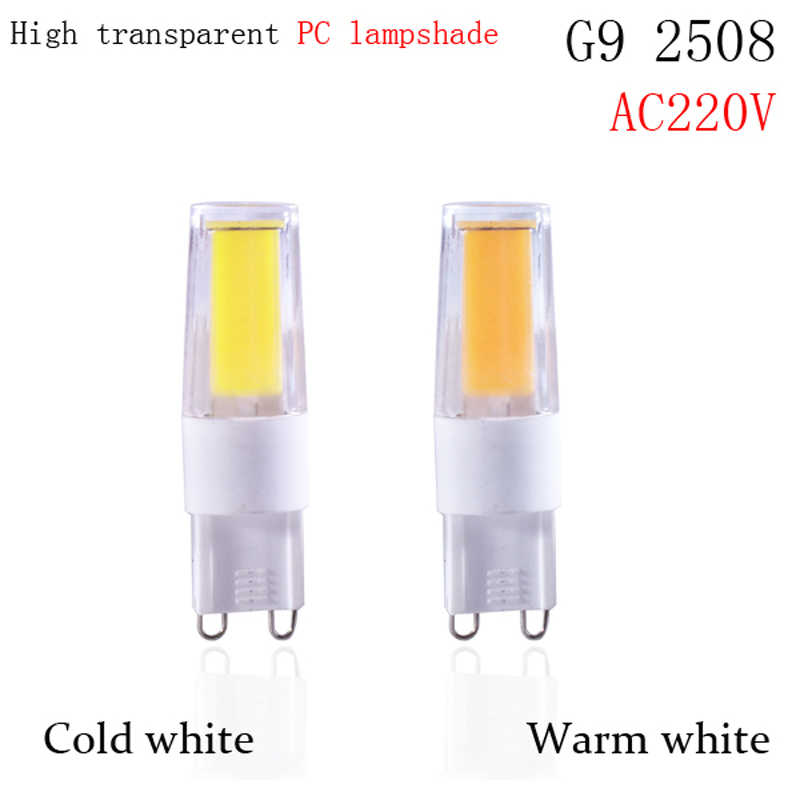 1pcs/lot G9 LED Lamp COB LED Bulb 5W 6W 9w DCAC 12V 220V LED G9 COB Light Dimmable Chandelier Lights Replace Halogen G4 G9 bulbs