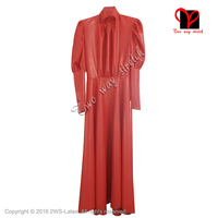 Sexy Red Latex Dress with dots zipper Rubber Dress Uniform Gummi laysuit Garrison Bodycon plus size XXXL QZ 093