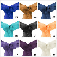 100 Pieces Wholesale 15x275CM Wedding Organza Sashes Bow Chair Sashes 28 Colors Wedding Decorations Party Decorations