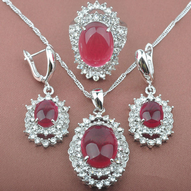 Noble Women's Red Stone Zirconia 925 Sterling Silver Jewelry Sets Necklace Pendant Clip Earrings Rings Free Shipping TS019