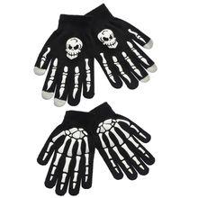 Унисекс, для взрослых и детей, зимние перчатки для велоспорта, полный палец, на Хэллоуин, страшный череп, коготь, скелет, противоскользящие резиновые варежки для улицы