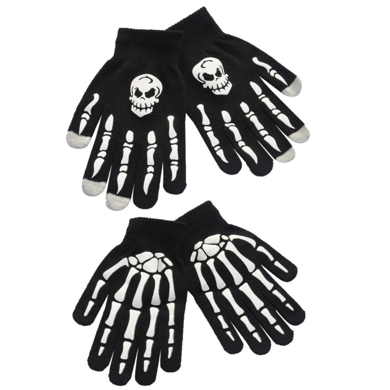 Unisex Adult Children Winter Cycling Full Fingered Gloves Halloween Horror Skull Claw Skeleton Anti-Skid Rubber Outdoor Mittens